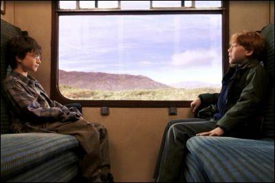 Pourquoi Ron se met-il dans le même wagon que Harry ?
