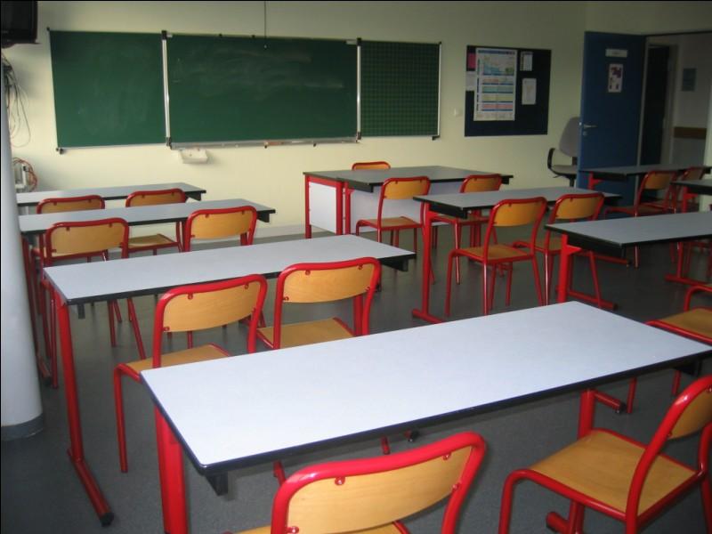 Juste en face, cette pièce peut recevoir vingt élèves pour qu'ils puissent étudier en toute tranquillité. Elle permet aussi aux jeunes de jouer aux professeurs. C'est la salle de...
