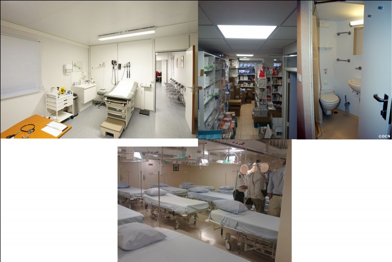 En cas de malaise, de maladie, de blessure, les personnes peuvent se faire soigner ici. Cette immense pièce possède : une salle de soins, une salle d'attente, une réserve de pharmacie, un coin sanitaire et d'une chambre de repos avec une dizaine de lits. C'est...