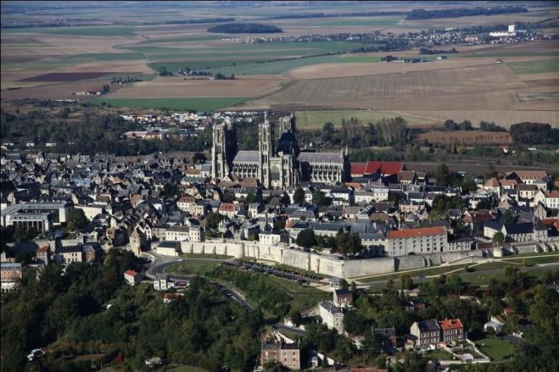 """Ville française, """"montagne couronnée"""" par sa cathédrale :"""