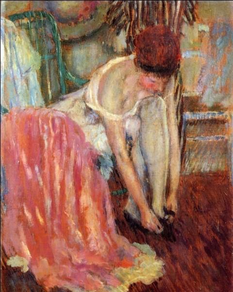 "Qui a peint ""Femme attachant ses chaussures"" ?"