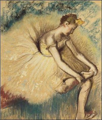 """Qui a peint """"Danseuse attachant sa chaussure"""" ?"""