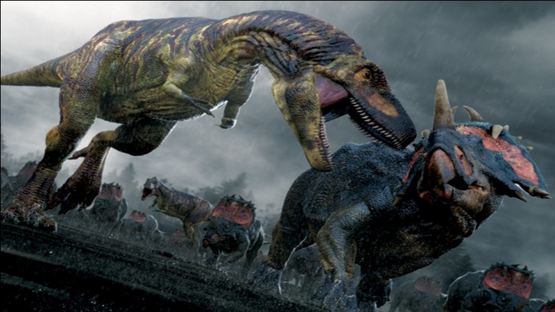 Quel est le nom du prédateur qui poursuit les Centrosaurus ?