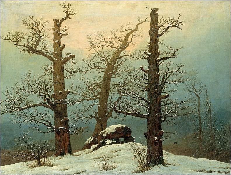"""Peintre romantique allemand cette fois-ci, ayant peint """"Tombeau sous la neige""""."""