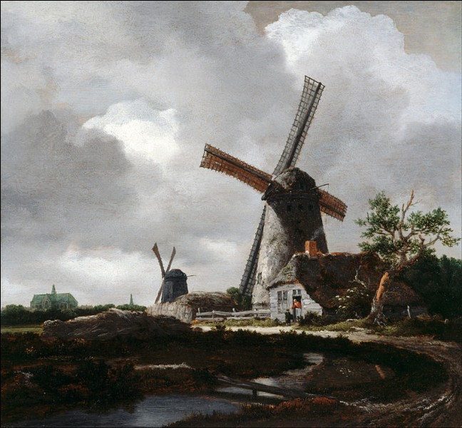 """""""Paysage avec des moulins près de Haarlem"""" est un tableau hollandais de :"""