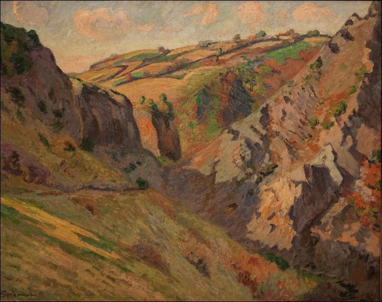 """De quel peintre nous vient le tableau """"Les grottes de Pranal près de Pontgibaud"""" ?"""