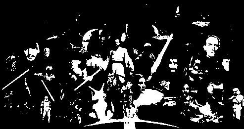 Personnages de ''Star Wars'' en noir et blanc