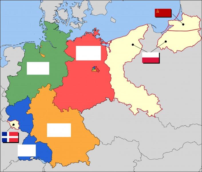 Revenons en arrière, lors de l'occupation de l'Allemagne à quel pays appartenait la zone verte ?