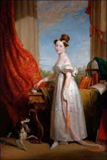 Peinture datant de 1833, ''Victoria avec son épagneul Dash'' est un tableau d'un peintre anglais spécialiste des portraits. Qui a signé cette toile ?