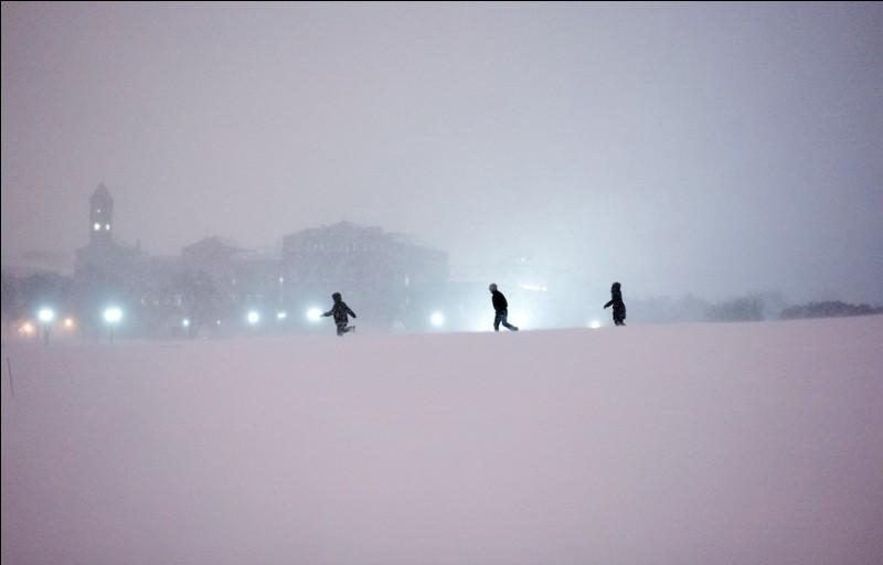 Tempête d'hiver, puissante et prolongée, combinant des températures négatives et des vents très forts réduisant considérablement la visibilité, typique des USA et du Canada.