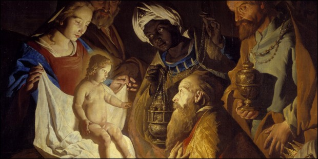Melchior est décrit avec un visage noir et représente l'Arabie.