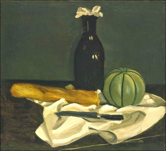 """Qui a peint la toile intitulée """"Melon, flacon, couteau et pain sur une table"""" ?"""
