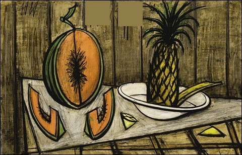 """Qui a réalisé la toile """"Nature morte au melon et à l'ananas"""" ?"""