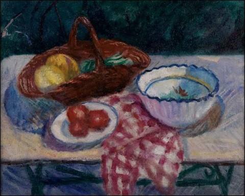 """Qui a peint """"Panier de melons, saladier, serviette à carreaux rouges"""" ?"""