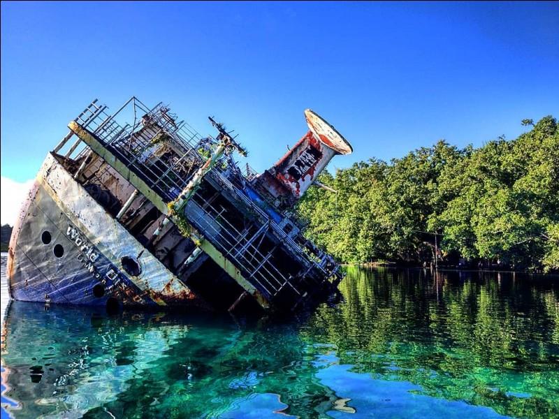 Construit en 1973, il était était un fier navire de croisière qui transportait des passagers vers les régions polaires le 30 avril 2000 : un rocher non répertorié sur les cartes, heurté au large des îles Salomon, au sud du Pacifique. a mis fin à sa carrière. Vous devez choisir le nom et l'endroit du navire ici photographié :