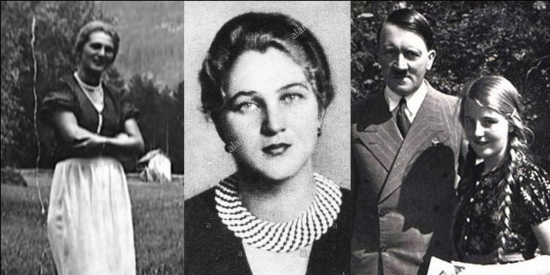 D'après la demi-sœur d'Hitler, elle aurait été la seule personne qu'Hitler aurait aimée. Ils rencontrent pour la 1e fois en 1926, Hitler a 36 ans, elle n'a que 16 ans. Ils se rencontreront pour la dernière fois en 1938. Elle voulait se marier avec Hitler, lui ne le voulait pas… tout de suite !Qui est-elle ?