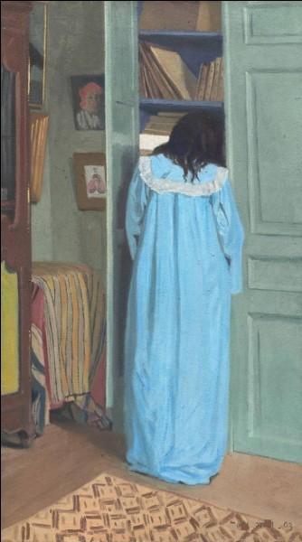 """Qui a peint la toile """"Intérieur, Femme en bleu fouillant dans une armoire"""" ?"""