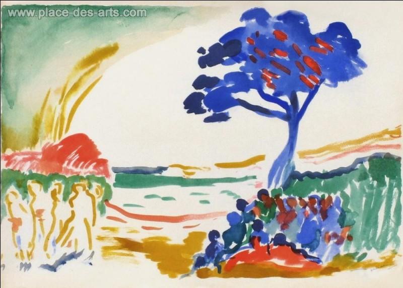 """Qui a réalisé l'aquarelle """"Paysage à l'arbre bleu"""" ?"""