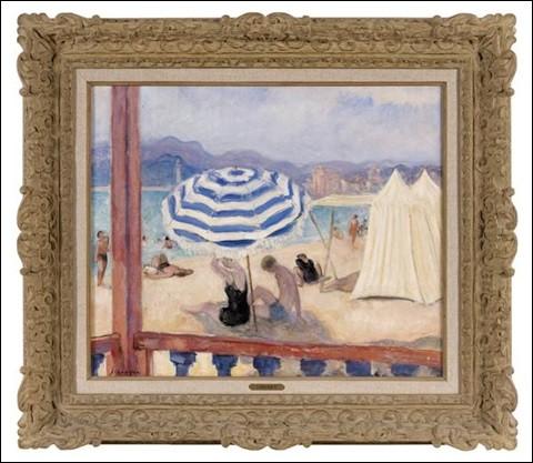 """Qui a peint """"Parasol bleu et tentes"""" ?"""