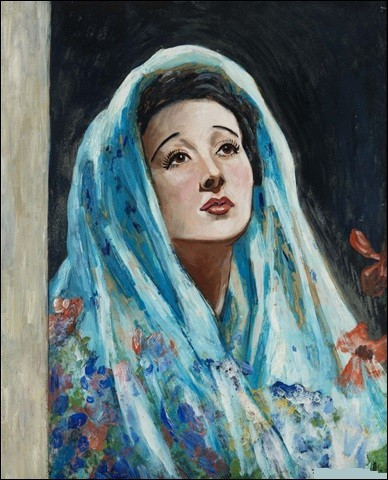 """Et on termine avec """"Femme au châle bleu"""" du peintre :"""