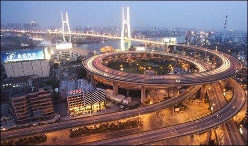 Dans quelle ville de Chine, le pont en spiral Nanpu (1991) est-il sis ?