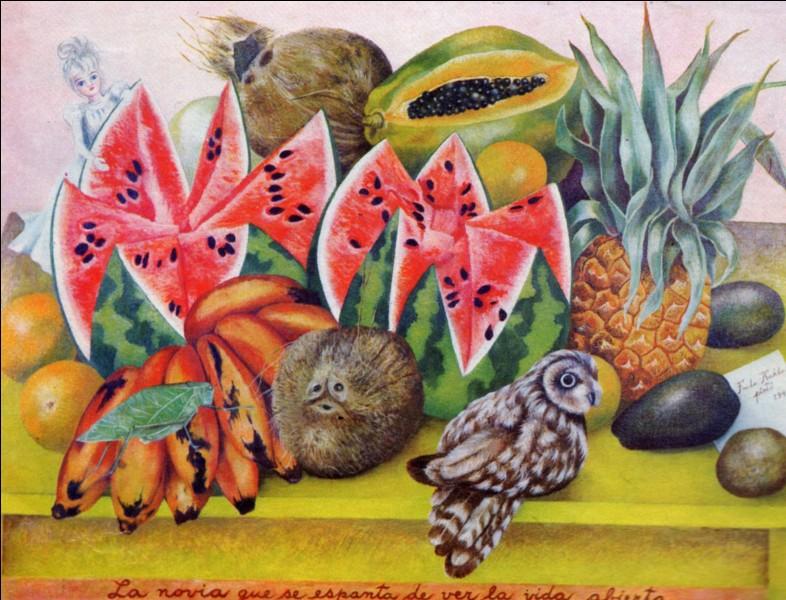 Par qui a été réalisée cette œuvre sur laquelle on voit des fruits et notamment un ananas ?