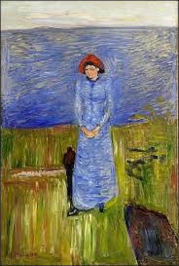 Huile peinte en 1891, ''Femme au chapeau rouge sur le fjord'' est une toile d'un expressionniste. Qui a exécuté ce tableau ?