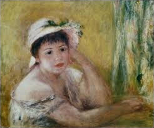 Huile sur toile réalisée en 1880, ''Femme au chapeau de paille'' est un tableau peint par un impressionniste. De qui s'agit-il ?