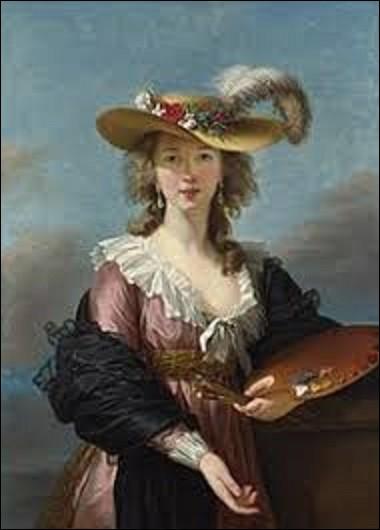Quelle femme rococo et néo-classique s'est représentée dans ce tableau intitulé ''Autoportrait au chapeau de paille'', toile peinte vers 1782 ?