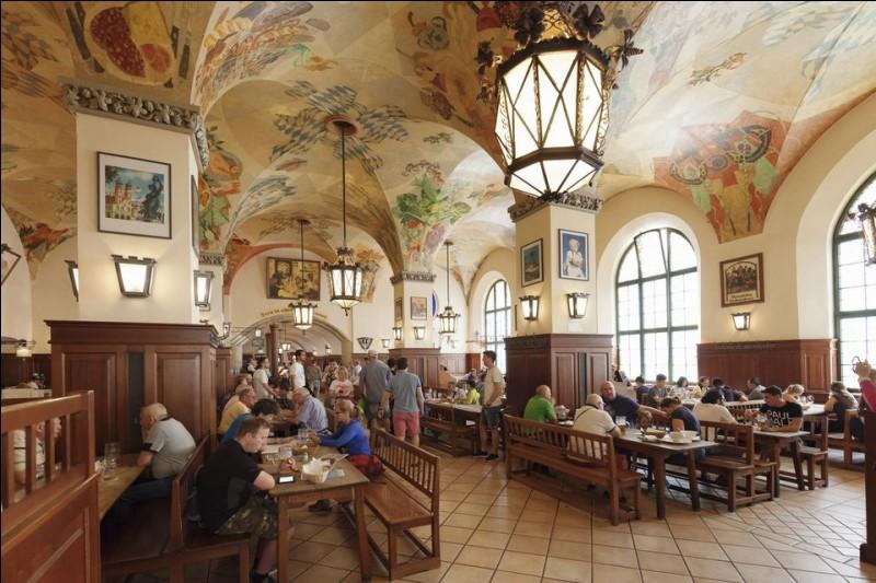 La Hofbrauhaus est au centre-ville depuis 500 ans. Elle a accueilli Mozart qui y composait et Hitler avec ses meetings. On boit dans les traditionnelles chopes d' 1 L de bière qu'une généreuse serveuse tient en quantité, au son d'un ''oom-pa-pa bands in lederhosen''. C'est une expérience conviviale : combinez avec leur bratwurst ou une typique sauerkraut.Trouvez la ville de cette institution :
