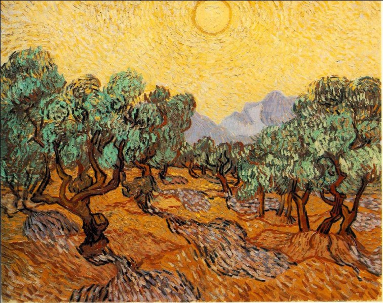 """Qui a représenté les """"Oliviers avec ciel jaune et soleil"""" ?"""