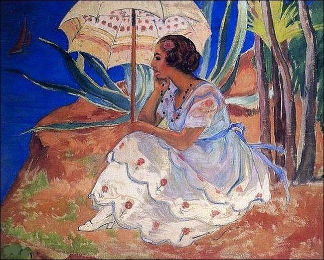 """Onb admire cette """"Jeune femme sous l'ombrelle à sainte-Maxime"""", réalisée par l'artiste :"""