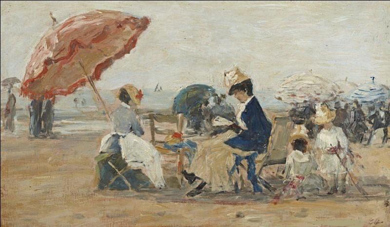 Et on termine avec cette scène de plage, ombrelle oblige ! Qui est son peintre ?