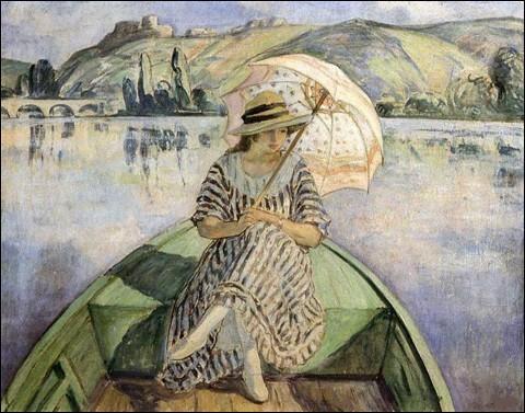 """Qui a représenté cette """"Femme à l'ombrelle dans une barque"""" ?"""