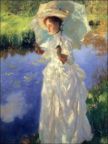 """Belle ombrelle sur cette toile intitulée """"Promenade matinale"""". Qui l'a réalisée ?"""