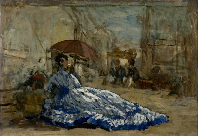 """Qui est le peintre de cette """"Femme en robe bleue sous une ombrelle"""" ?"""