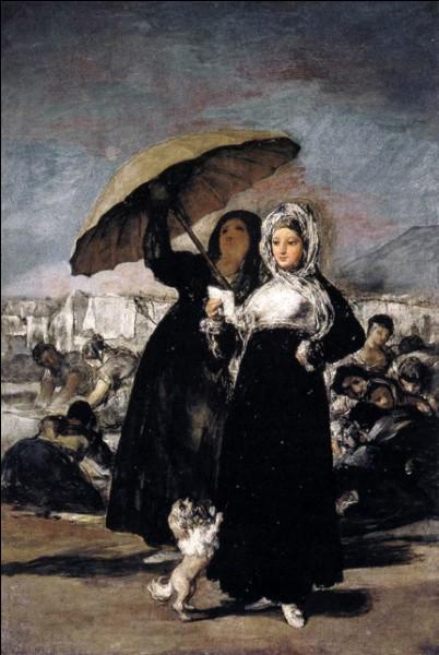 Qui a peint ces deux personnes, avec chien et ombrelle ?
