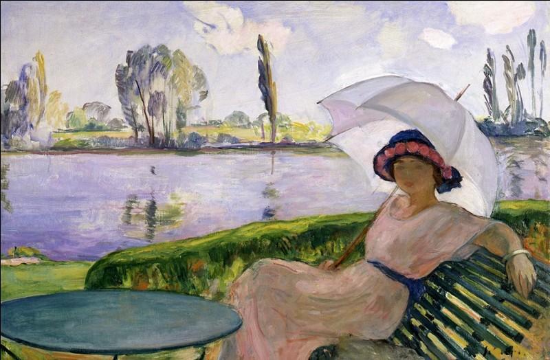 """Magnifique toile emplie de fraîcheur avec cette """"Femme à l'ombrelle au bord de l'eau"""" par l'artiste :"""