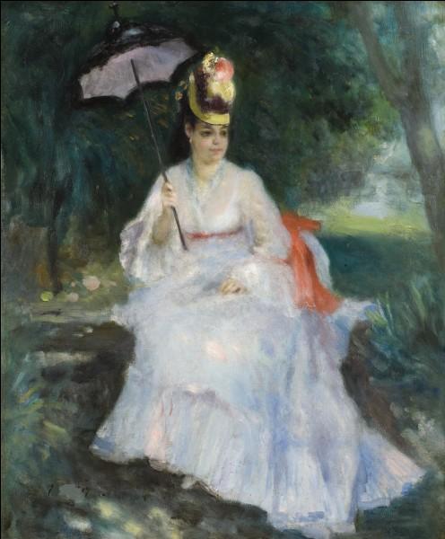 """Sa toile se nomme """"Femme a l'ombrelle assise dans le jardin :"""