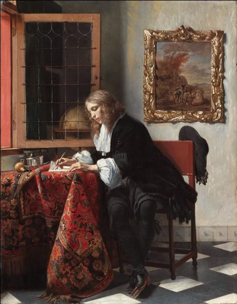"""Quel peintre hollandais du XVIIe a réalisé le tableau """"Homme écrivant une lettre"""" ?"""