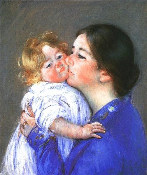 """Ce tableau intitulé """"Un baiser pour bébé Anne"""" est l'œuvre d'une peintre impressionniste. C'est … Cassatt."""
