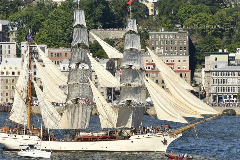 On le voit ici, en départ pour une Transat Québec Saint-Malo. Navire à coque d'acier, construit à Hambourg en 1911. Il est gréé de trois mâts : il est enregistré à Rotterdam et a été complètement restauré en 1985, puis en 1992. Le voilier sert à l'entraînement, aux voyages autour du globe et aux grandes courses. Il peut atteindre 13 noeuds.Quel est ce voilier qui a fait des circumnavigations ?