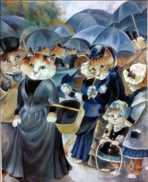 """La véritable toile qui a inspiré cette parodie s'intitule """"Les Parapluies"""". Qui en est l'artiste ?"""