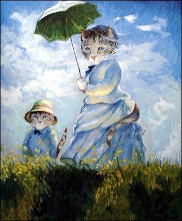 Voici la chatte à l'ombrelle ! Mais de qui était le tableau initial ?