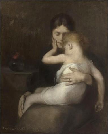 """Le tableau """"L'Enfant malade"""" présenté ici, a été peint par Eugène Carrière."""