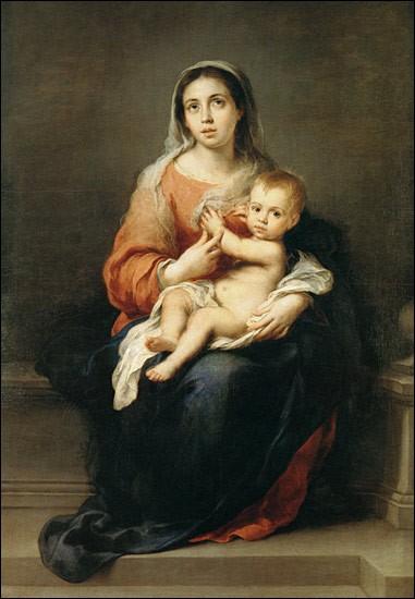 """Toujours dans le XVIIe siècle, quel peintre baroque espagnol a réalisé cette """"Vierge à l'enfant"""" ?"""