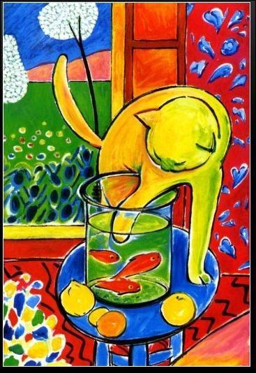 Qui a peint ce chat coquin qui veut s'amuser avec les poissons ?