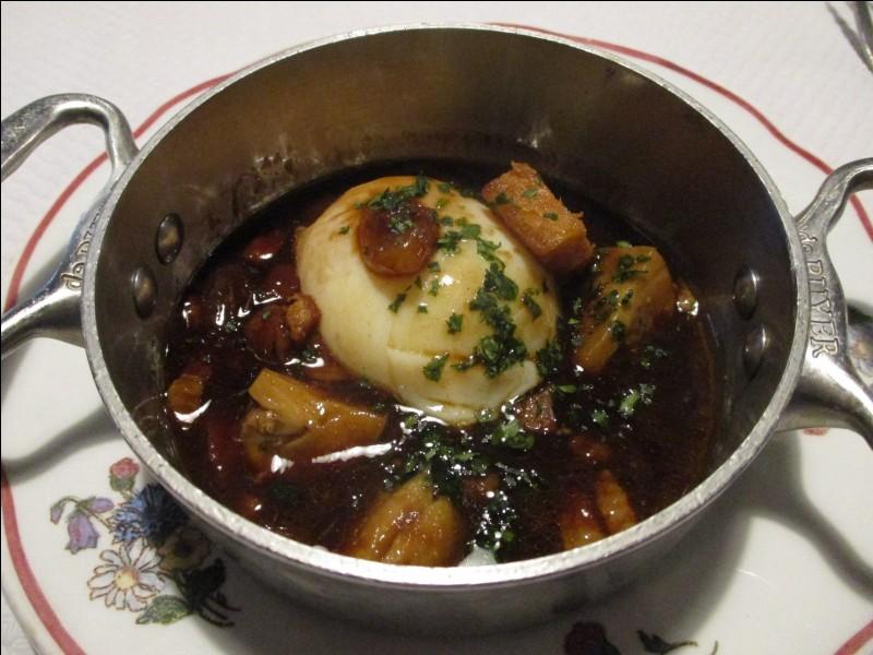 Quelle est cette préparation composée d'oeufs pochés et de sauce au vin rouge du vignoble de bourgogne ?