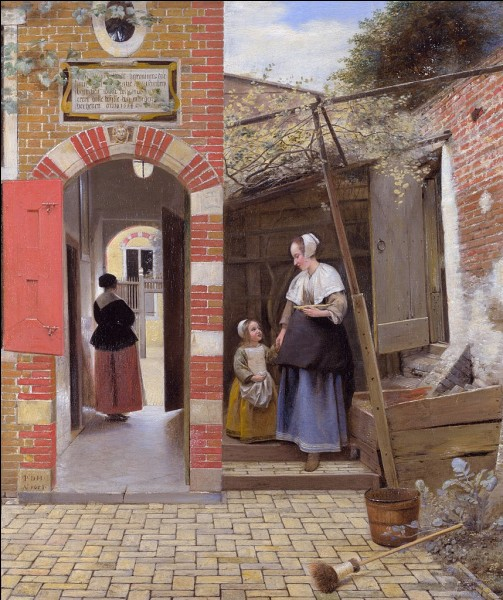 """Toujours dans le XVIIe, quel peintre hollandais est l'auteur du tableau """"La cour d'une maison à Delft"""" ?"""