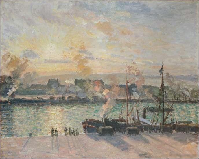 """Qui a peint le tableau """"Rouen, coucher de soleil sur le port"""" ?"""